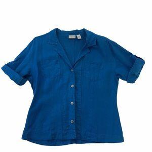 3/$22 Chico's Linen Button Down Blouse